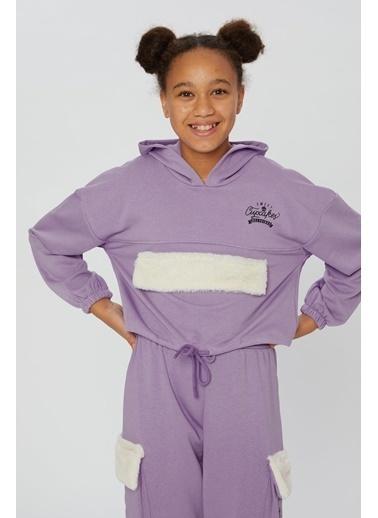 Little Star Little Star Kız Çocuk Peluş Kapaklı Sweatshirt Lila